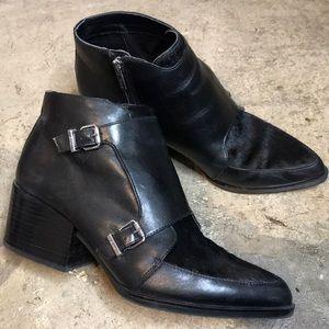 Sam Edelman cowhide fur leather black booties